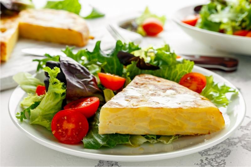 tortilla Espanola with salad