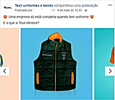 anuncio do facebook da Tesil
