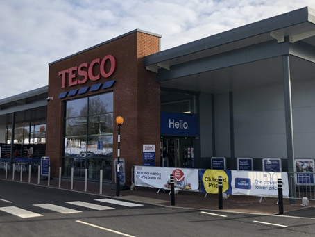 Completed new Tesco format-23 store shell in Penwortham, Preston.