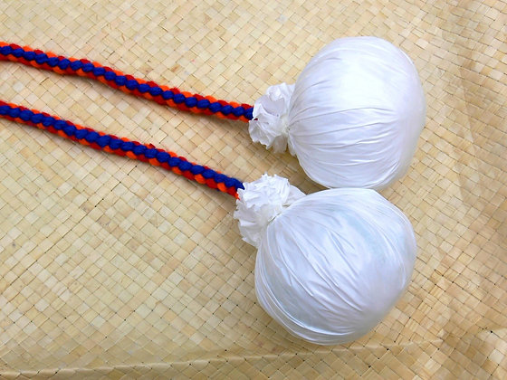 Maori poi balls - blue, red & orange