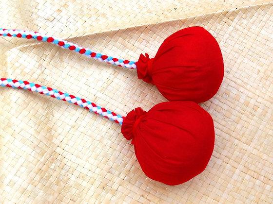 Maori poi balls - red, white & teal