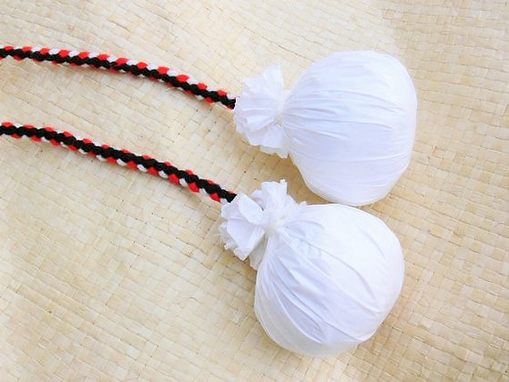 Maori poi balls - Black, red & white