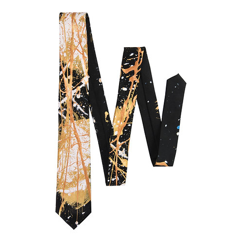The Saint Black and Gold Tie