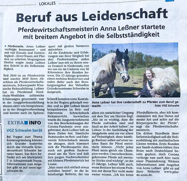 Beruf aus Leidenschaft, Anna Leßner, Pferdewirtschaftsmeisterin, Gründung, Start, Artikel, Pferde