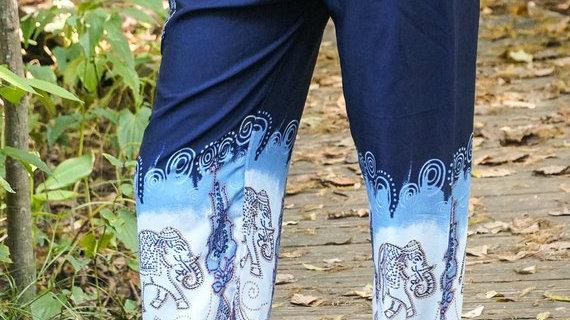Blue ELEPHANT Women Boho Pants Hippie Pants Yoga Pants