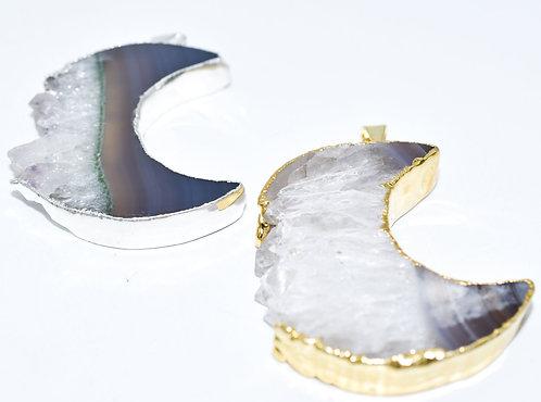 Amethyst Slice Moon Pendants
