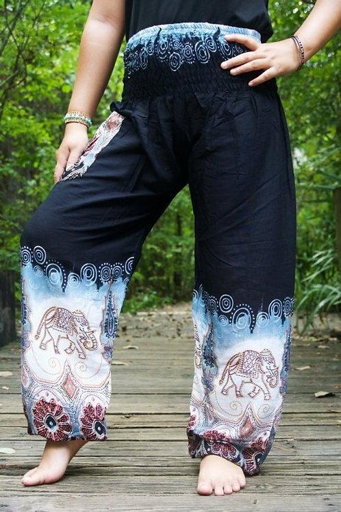 Black ELEPHANT Women Boho Pants Hippie Pants Yoga Pants