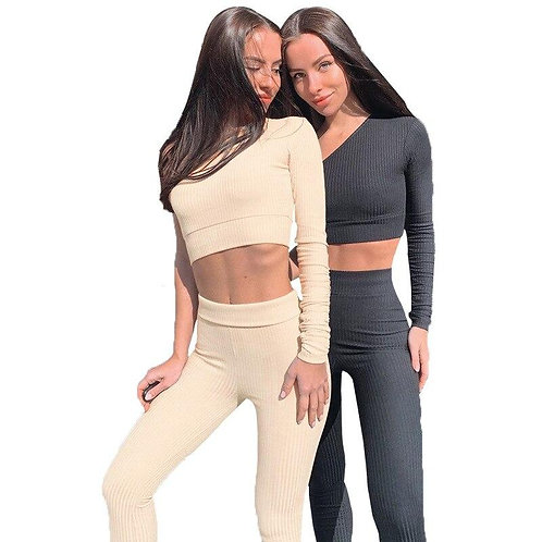 Seamless Ribbing Yoga Set Sportswear Tracksuit Fashion One Shoulder