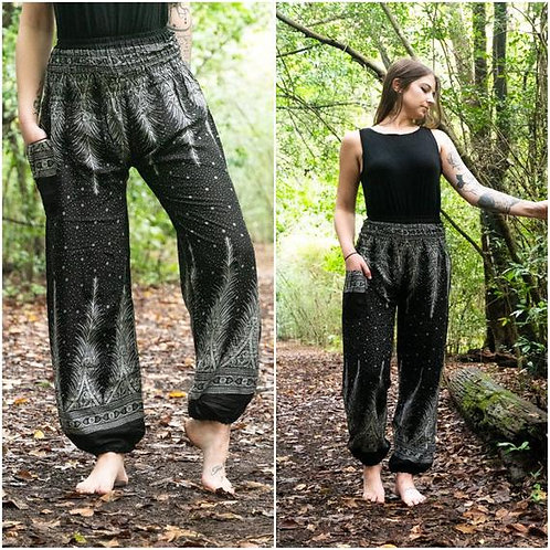 Black PEACOCK Women Harem Pants Boho Pants Hippie Pants