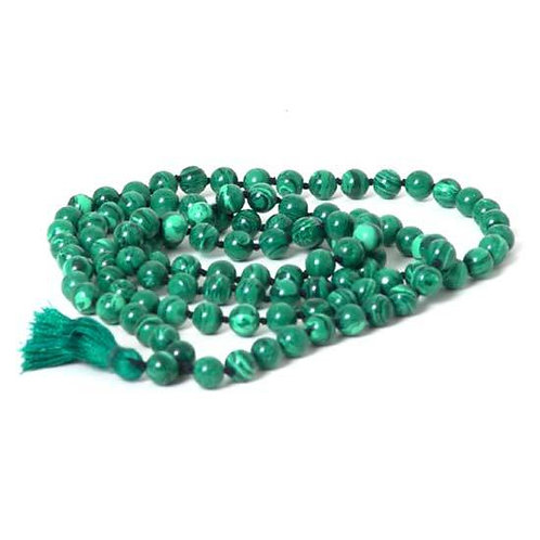 108 Malachite Mala Beads Necklace -  Japa Mala - Japa Neklace - Tassel