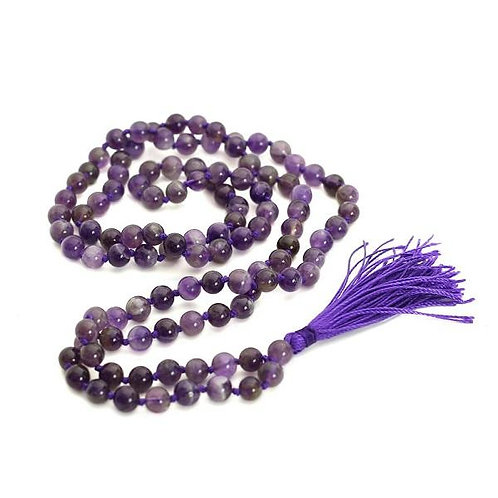 108 Natural Amethyst Mala Prayer Beads Japa Mala Tassel Necklace