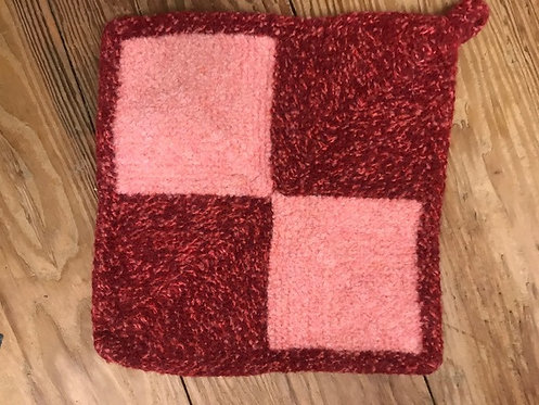 4 Square Mitered Knit and Felted Pot Holder