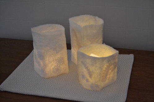 Felting Luminary and Small Bowl