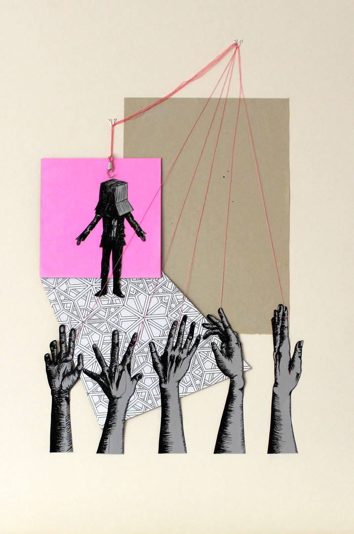 Hands Up / Ink drawing and collage / 2014