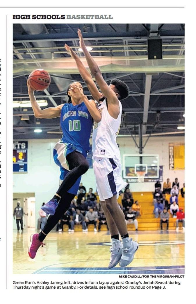 HS Basketball for VP Green Run Ashely Ja