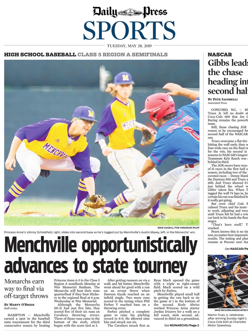 Daily-Press Sports Front Page HS Basebal