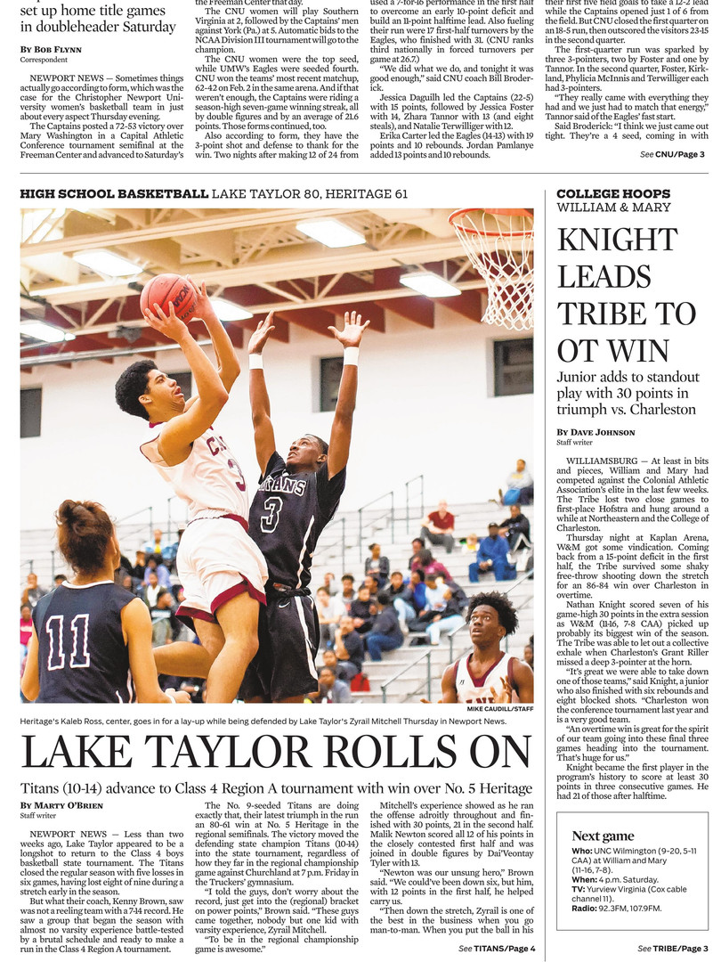 Daily-Press Front Sports Page 02-22-19