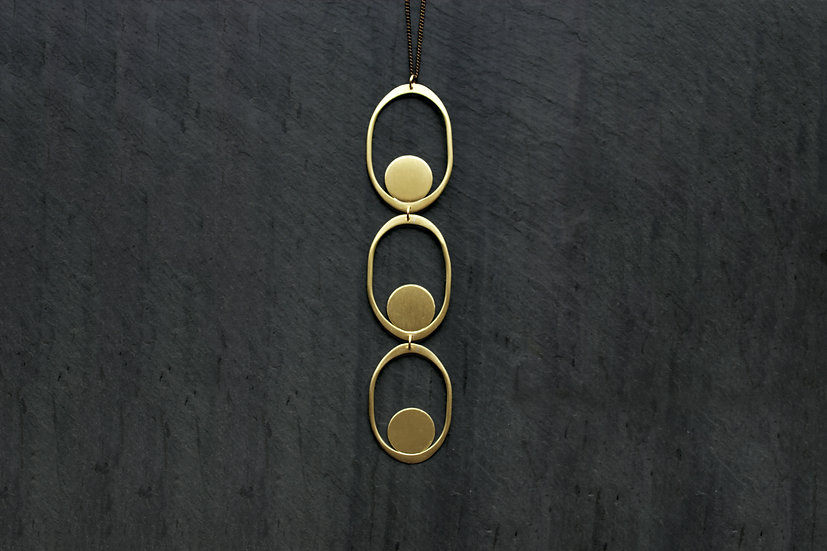 Brass Saturnia Necklace, by Loop Jewelry