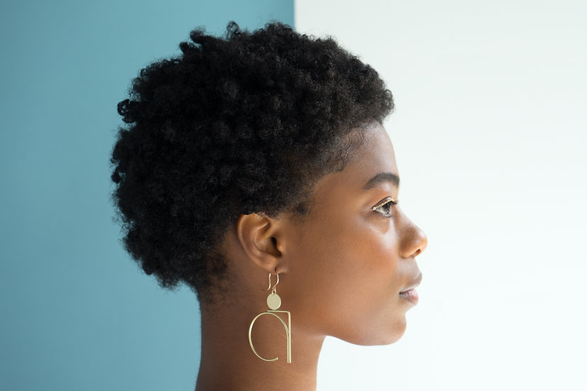 Juell in brass poplar earrings, by Loop Jewelry - profile