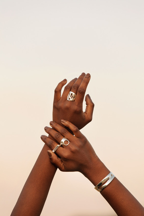 all sterling organic cuff, ring, contour ring and unison ring