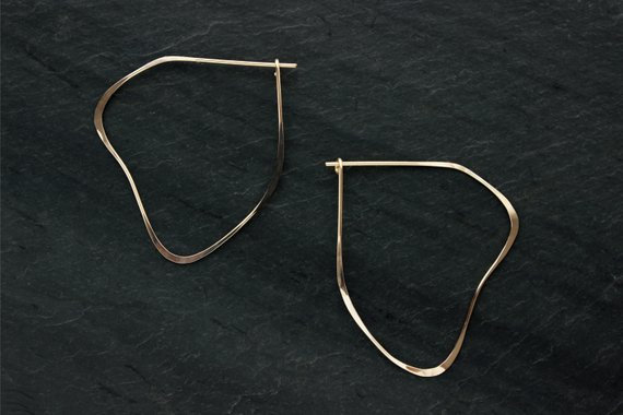 Organic shaped earrings, handmade from 14K gold fill by Loop Jewelry
