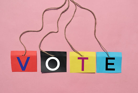 Vote Word Written Color Flag Fastened With Rope Isolated on Pink Background, Election and