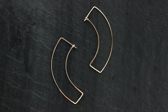 Gold fill curve earrings, by Loop Jewelry