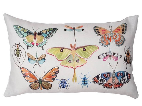 Pillow- Insects with Pink Velvet Backing