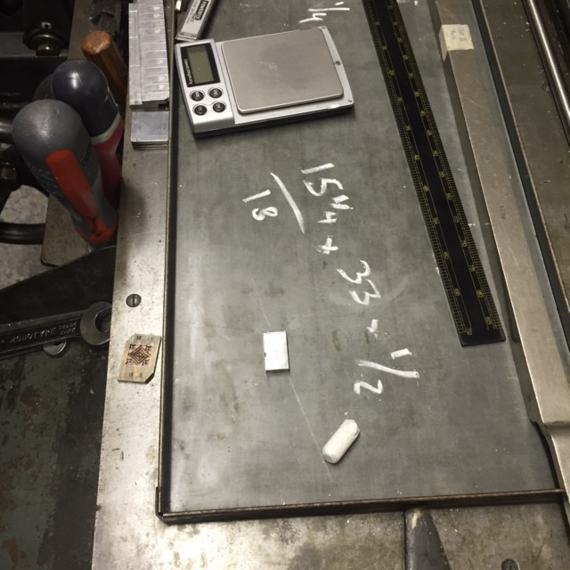 Andrews workings out on the galley