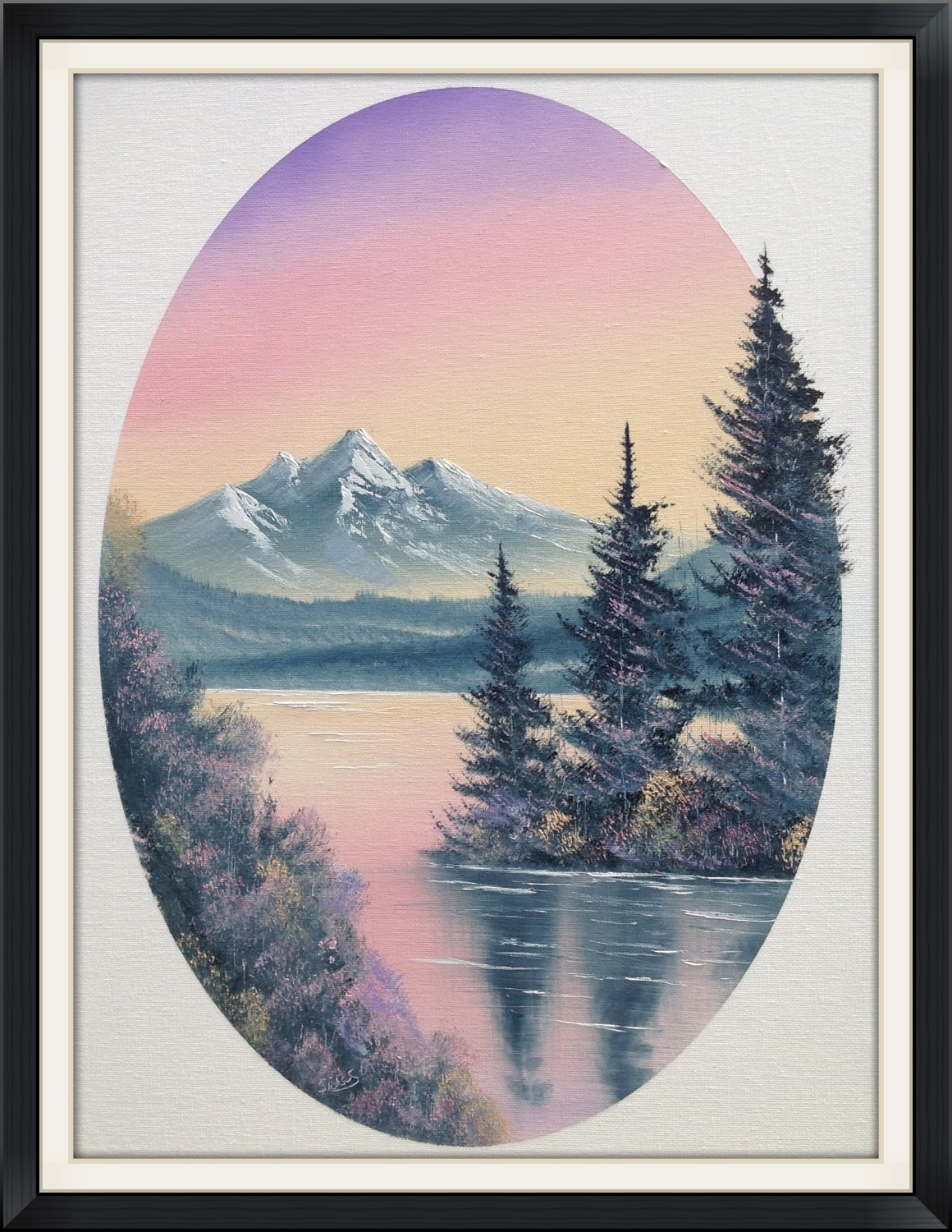 Oval Pastel Mountains