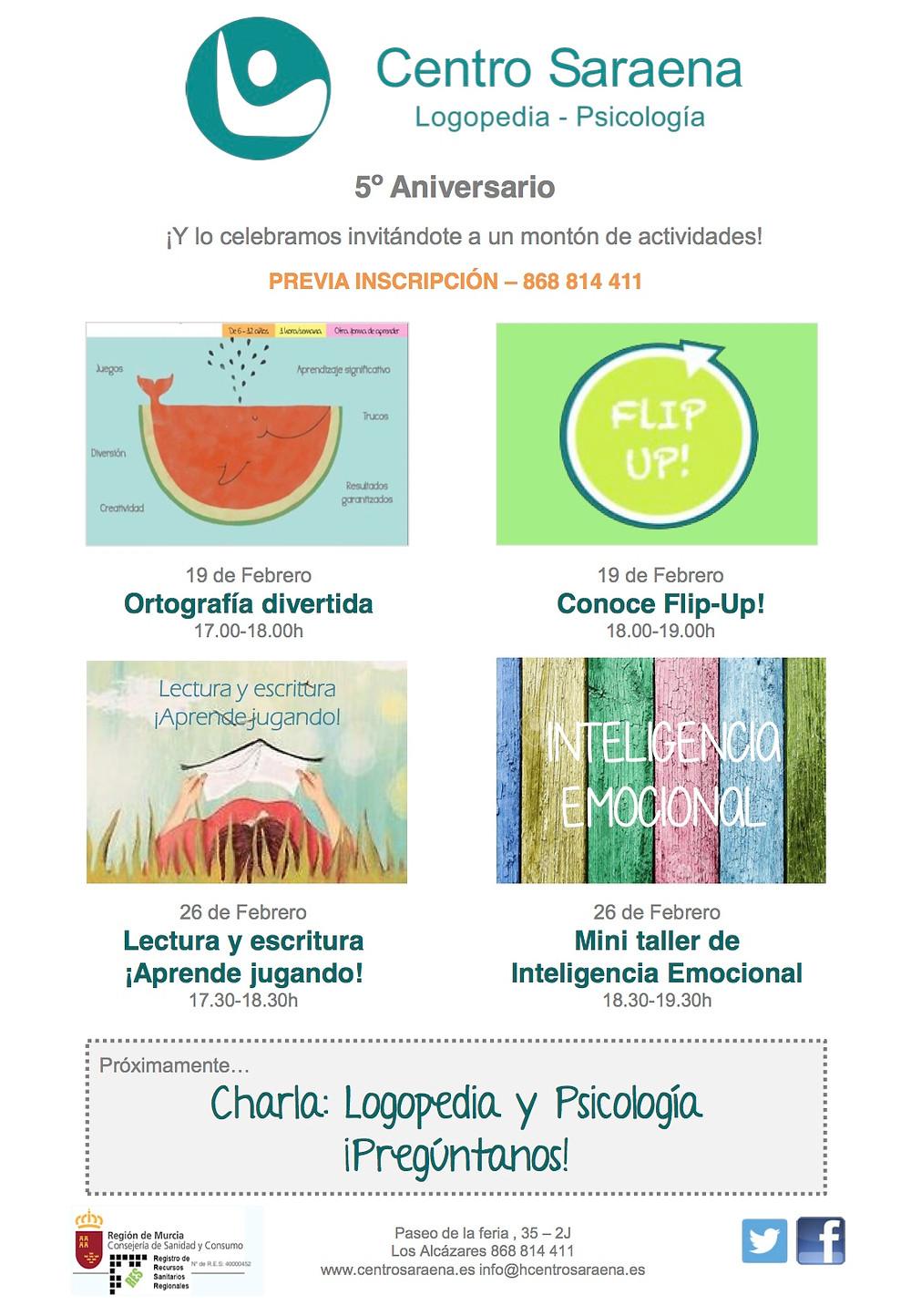 5º Aniversario Centro Saraena - logopedia y psicología Los Alcázares (Murcia)
