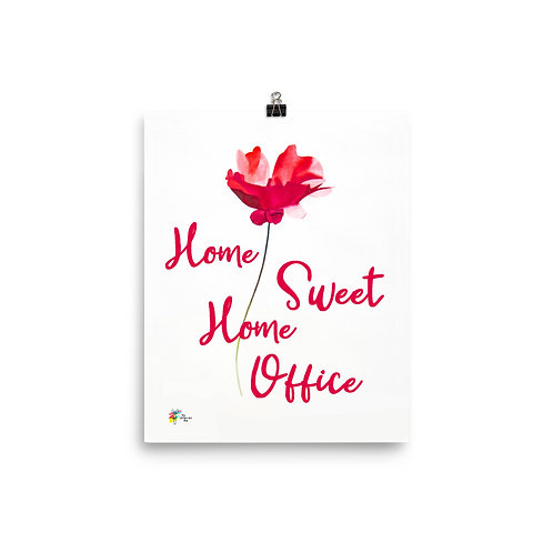 Home Sweet Home Office Art Print Red Flower