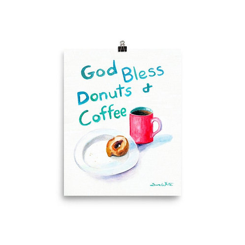 Funny Office Art - God Bless Donuts and Coffee