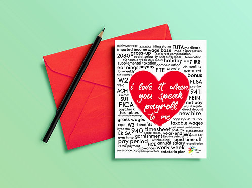 Payroll Greeting Card for Payroll Coworkers and Employees