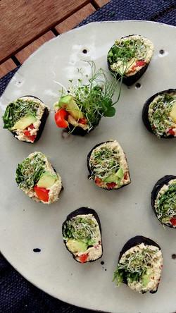Sushi dish, raw, vegan and organic