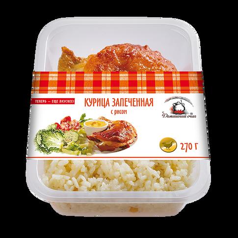 Курица запеченная с рисом. Домашний очаг.