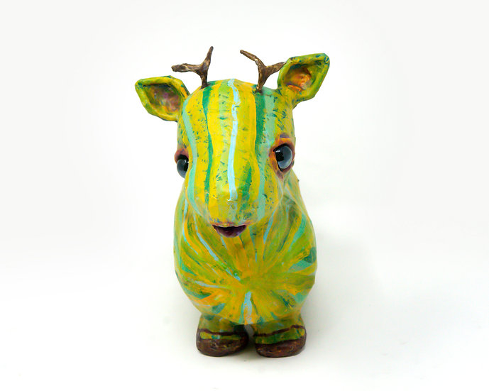 Melonlope the Green Striped Antelope Sculpture