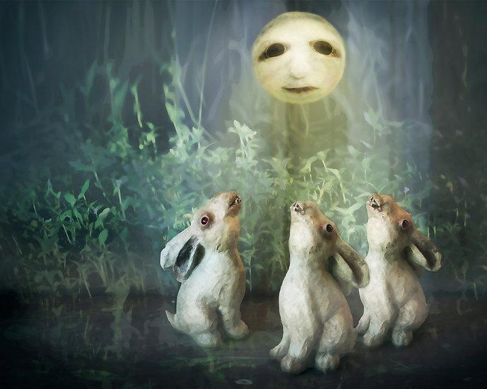 Rabbit Howls Art Print