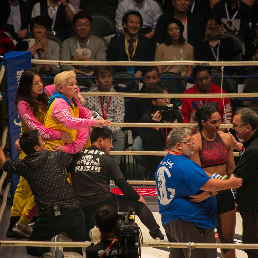 Shinobu Kandori came up to the ring