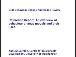 GSR Behaviour Change Knowledge Review: Reference Report