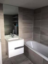 nice modern tiling and unit fitted into a belfast renovation