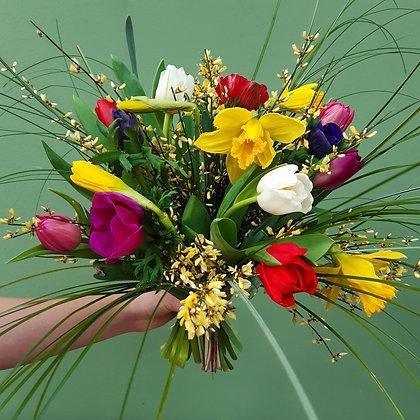 Strauß mit bunten Frühlingsblumen; Durchmesser ca. 40cm