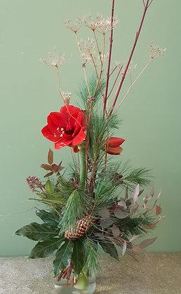 Schnittblumenstrauß Amaryllis rot, mit Wintergrün