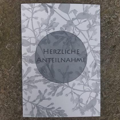 """Karte """"Herzliche Anteilnahme""""; mit Kuvert"""
