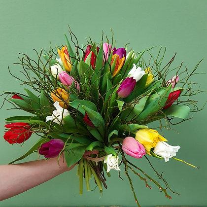 TulpenStrauß bunt; Durchmeser ca. 40cm