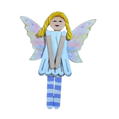 Wooden Pixie Fairytale Fun Wall Hanging Art, Popsicle Stick Home Decor