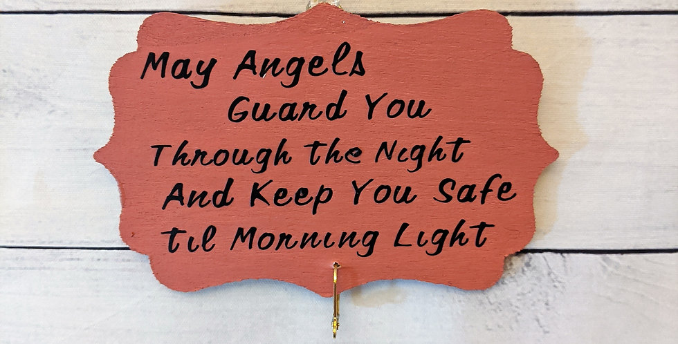 """Coral Pink Wall Plaque """"May Angels Guard You Through the Night"""""""