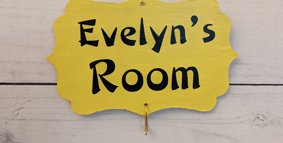 "Bright Yellow Wall Plaque ""Evelyn's Room"""