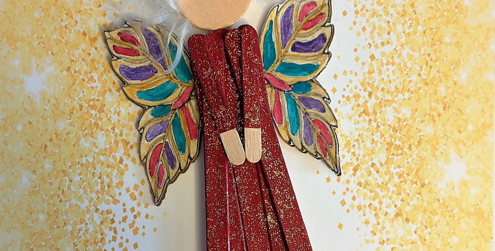 Wooden Elegant Fairy Popsicle Stick Doll,  Wall Decor / Tree Ornament, Crimson