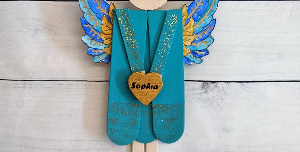 Festive Wood Holiday Angel Designer Art, Religious Gift, Penelope